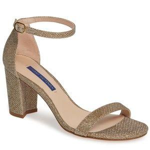 Stuart Weitzman NearlyNude Gold Block Heel Sandals